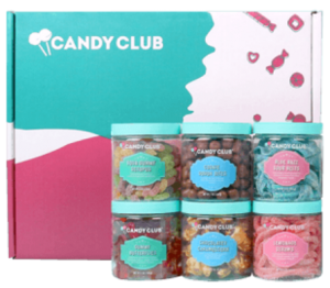 blue and pink box with white lettering made by candy club
