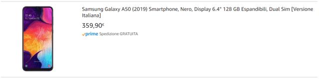 Galaxy A50 arriva in Italia sullo store di Amazon 1
