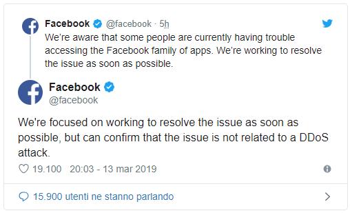 Whatsapp, Facebook e Instagram down in tanti paesi 1