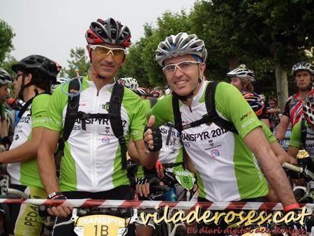 Miguel Lozano i Mario Rabell a la línia de sortida de la TRANSPYR 2012