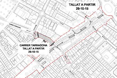 Carrer Tarragona tallat al trànsit