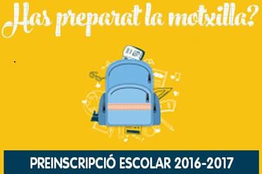 Preinscripció escolar  pel curs 2016-17