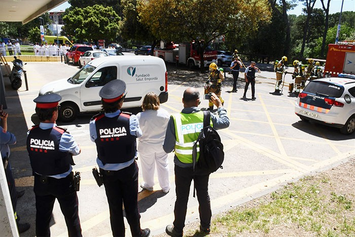 Simulacre d'incendi a l'Hospital de Figueres