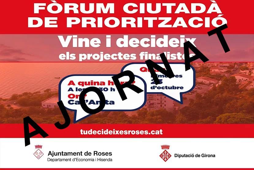 Canvi de dates del òrum Ciutadà i la conferència Roses Patrimoni Viu