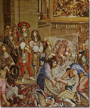 Gobelin retrata Luix XVI visitando a Manufatura de Gobelins