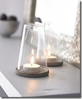 Suporte de vidro e pedra para a vela