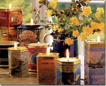Latas de chá que viram velas