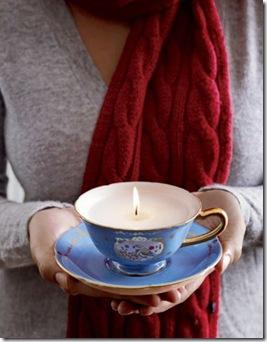 Xícara de porcelana como opção de recipiente para a vela
