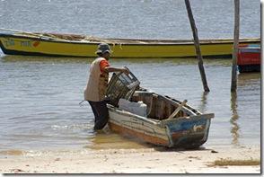 Marisqueira de croa chegando da catação