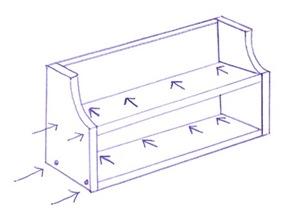 Pontos de fixação dos parafusos da prateleira