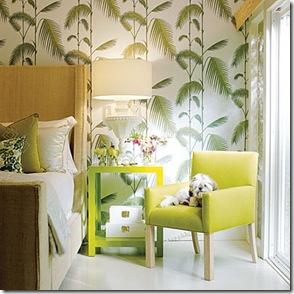 Papel de parede com temas tropicais e cama de bambu para o quarto da praia