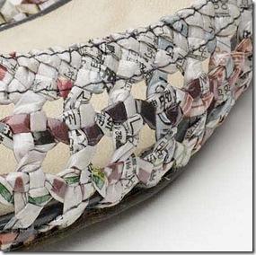 Detalhe do trançado em jornal reciclado das sapatilhas de Colin Lin