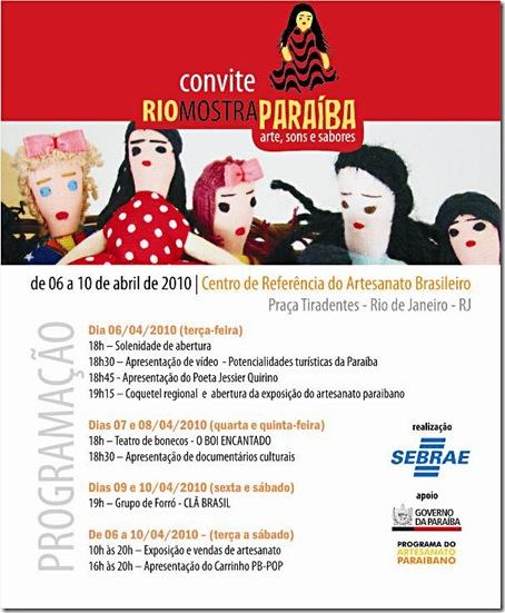 Convite  para o evento Rio mostra PB