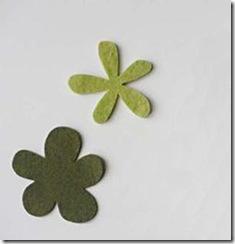 Corte folhas em feltro verde