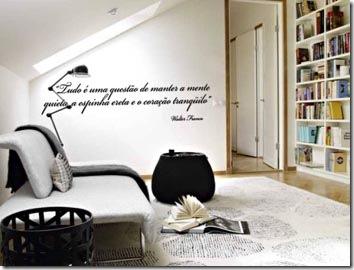 Citação na parede do quarto de leitura, adesivo decorativo