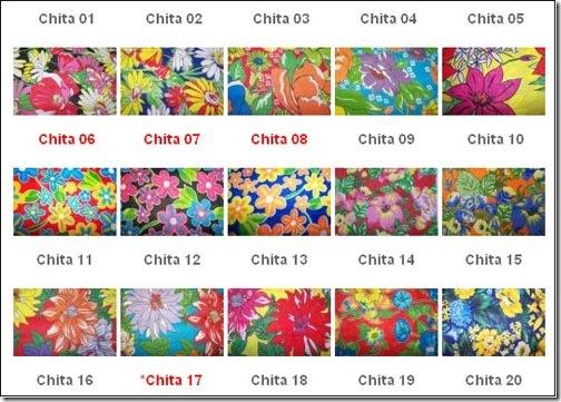 Catálogo de chitas disponíveis na Com Chita Brazil