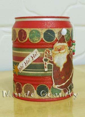 A Thays reciclou a lata com temas natalinos