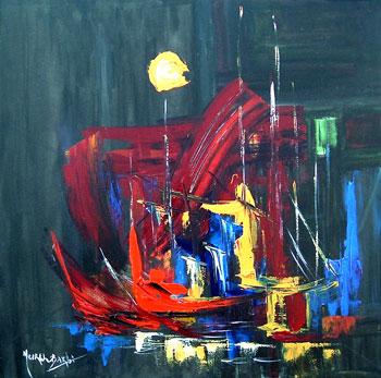 Barcos Vermelhos, acrílico sobre tela de Meirel Barbi