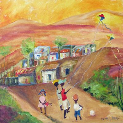 Tela intitulada Favela, de Meirel Barbi