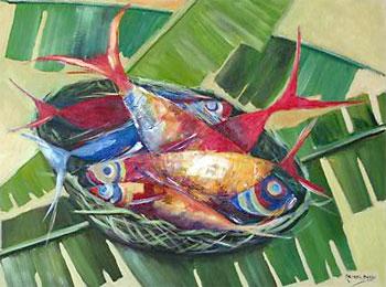Tela super viva: Peixes, de Meirel Barbi