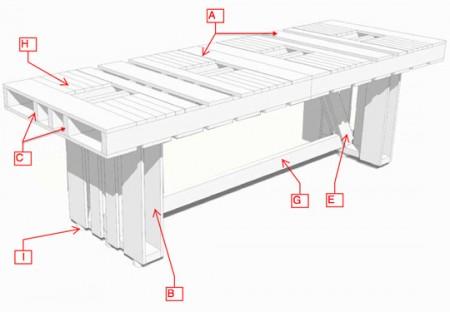 Esquema para construir uma mesa de pallet