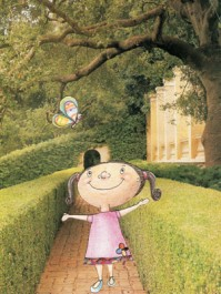Menina no jardim, ilustração das irmãs Santiago