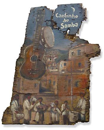 Painel de encomenda, Cantinho do Samba, sobre madeirite, de Ronaldo Haammes