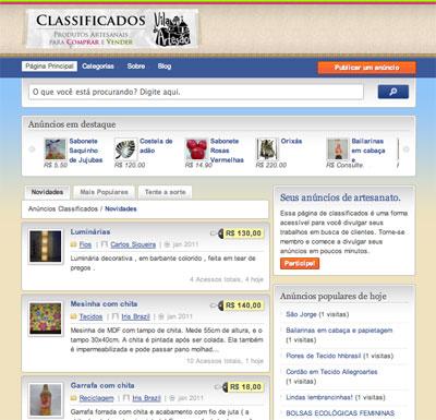 Página principal com os anúncios do Classificados da Vila