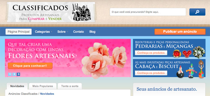 Página inicial do Classificados da Vila