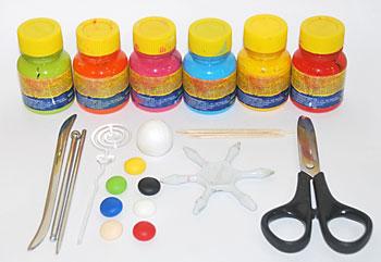 Prepare as tintas e as ferramentas para fazer o palhacinho