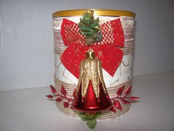 Lata decorada com tema natalino, reciclagem para o natal