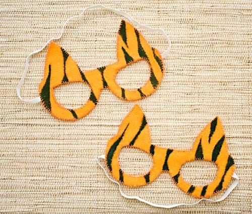 Máscara de carnaval modelo tigre, artesanato em feltro