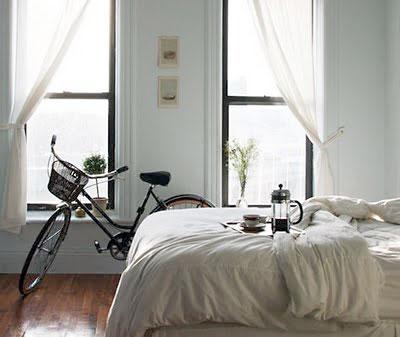 Bicicleta no quarto, para uma decoração romântica