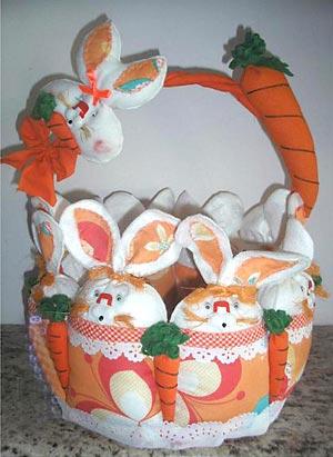Cesta de páscoa decorada com artesanato