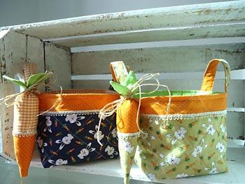 Cestos de tecido para enfeitar a páscoa