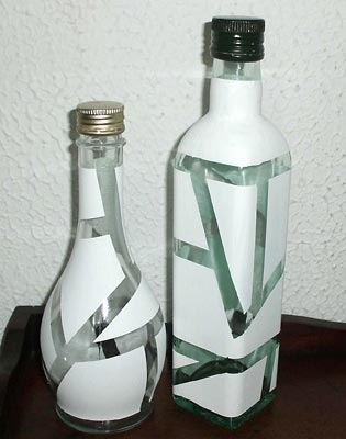 Garrafas de vidro com reciclagem para decorar