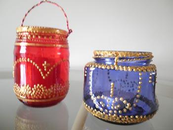 Lanternas recicladas de vidros de conserva