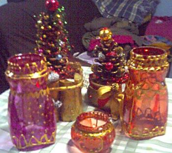 Conjunto de lanternas de vidro pintadas e decoradas