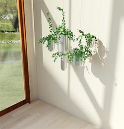 Ambiente com um conjunto de vasos flutuantes