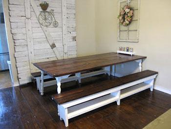 Tampo de mesa de fazenda com tábuas grandes