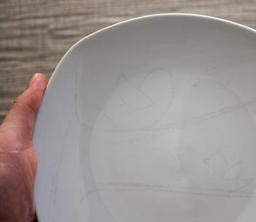 Limpe bem o seu prato e transfira o desenho