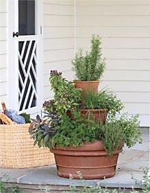 Torre de vasos para temperos e ervas aromáticas