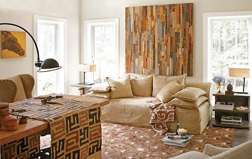 Painéis decorativos - Ripas estreitas de madeira de demolição para o painel da sala