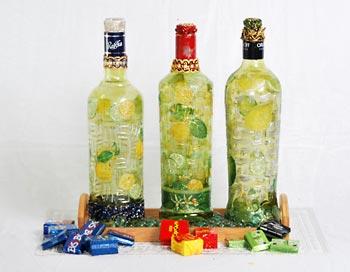 Trio de garrafas personalizadas com pintura