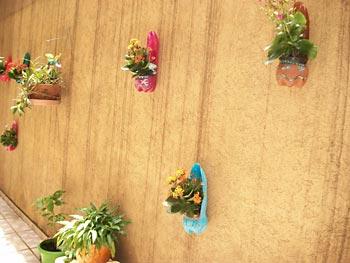Mais vasos de pet coloridos para a parede