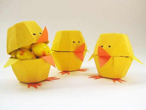 Páscoa com pintinhos de caixas de ovos
