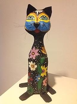 Escultura de gato super bacana em papel machê