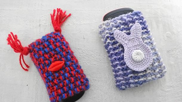Capas para celular feitas em tricô por você