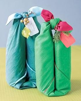 Furoshiki para as embalagens de vinho