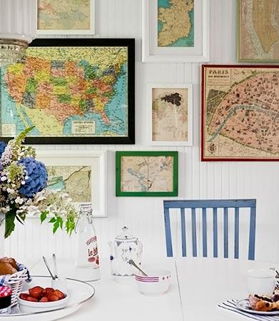 Mapas emoldurados, sugestão de uso na decoração